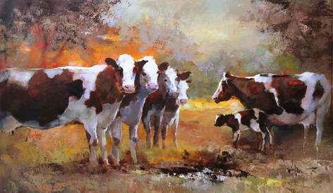 Vijf koeien en een kalf