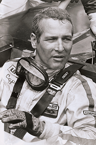 "Aluminium schilderij ""Paul Newman in racing car"" van Mondiart"
