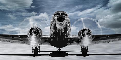 "Aluminium schilderij ""Airplane blue sky (panorama)"" van Mondiart"