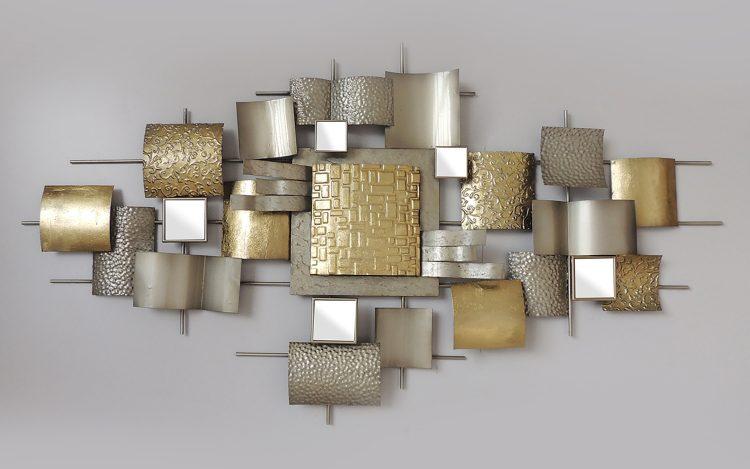 """Metalen wanddecoratie """"Twenty-two golden squares"""""""