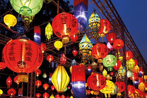 "Aluminium schilderij ""Asian lanterns in lantern festival"" van Mondiart"