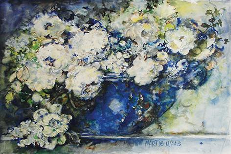"Aluminium schilderij ""Mart Waals – Blue vase full of white flowers"" van Mondiart"