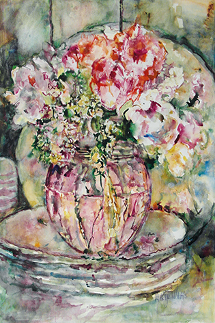 Mart Waals – A pink vase on a stack of plates