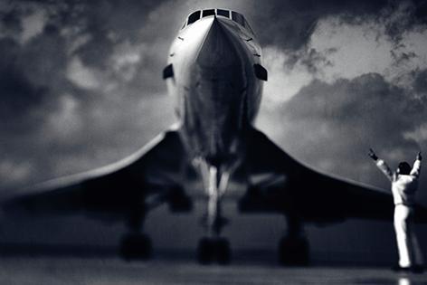 """Aluminium schilderij """"Landing Concorde"""" van Mondiart"""