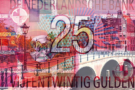 BAS 25 gulden Geld Stad Gracht Collage