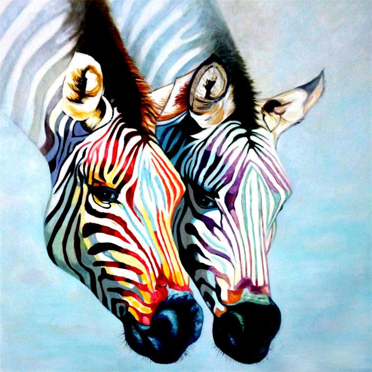 schilderij twee kleurrijke zebrakoppen EA-1700057