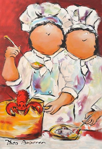 """Dikke dames schilderij """"Koken"""" van Theo Broeren"""