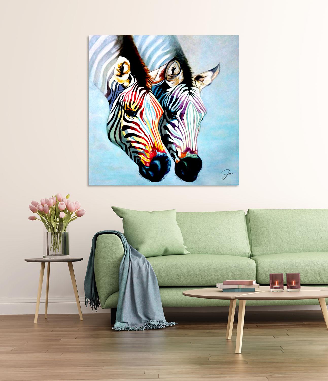 schilderij twee kleurrijke zebrakoppen