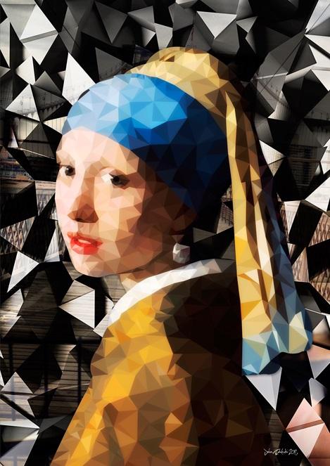 """Glasschilderij """"Meisje met de parel 3.0"""""""