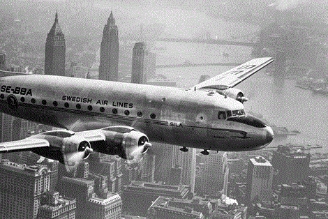 Vintage vliegtuig over New York