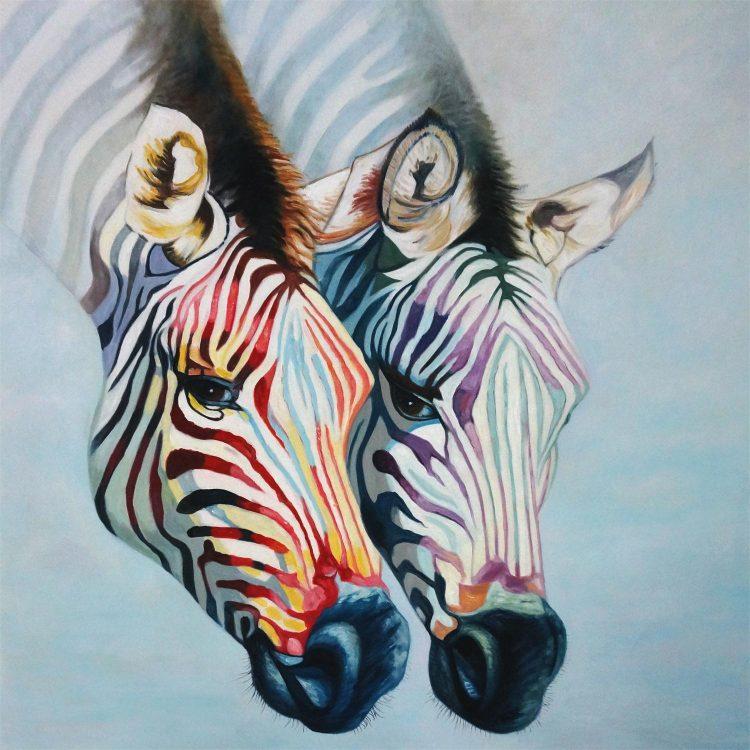 """Schilderij """"Twee kleurrijke zebra's"""""""
