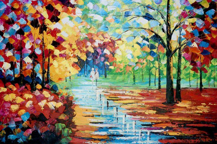 """Schilderij """"Kleurrijke boswandeling 2"""""""