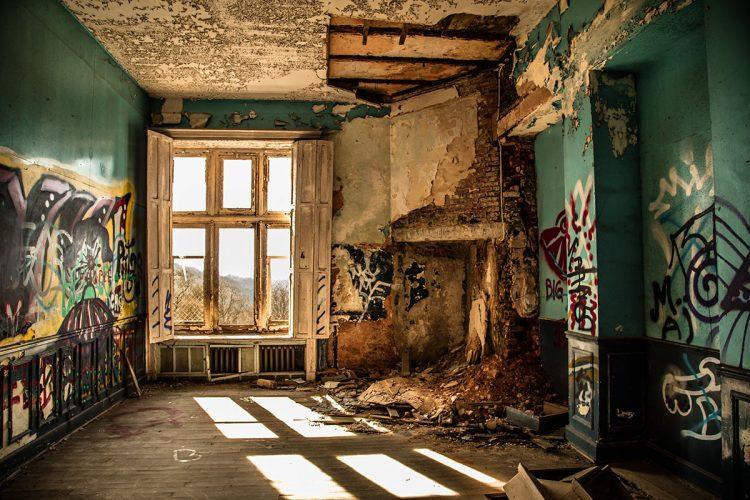 """Aluminium schilderij """"Urbex verlaten Kasteel"""" van Quentin"""