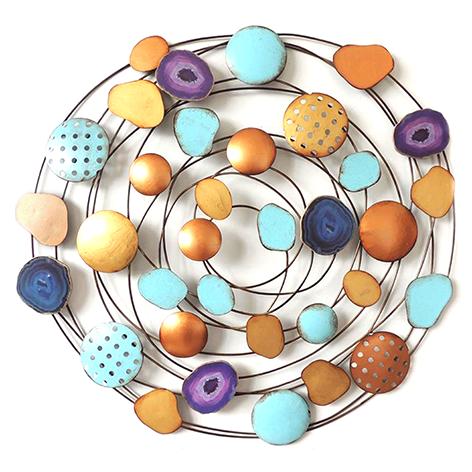 "Metalen wanddecoratie ""Colorful circles"""