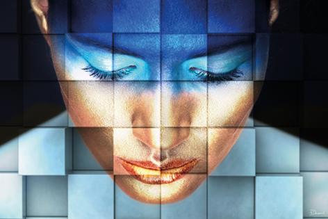Dibond kunstwerk blue girl