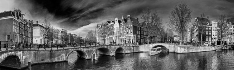 """Aluminium schilderij """"Amsterdamse grachten zwart/wit"""" van Quentin"""
