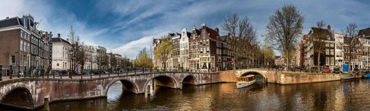 """Aluminium schilderij """"Amsterdamse grachten"""" van Quentin"""