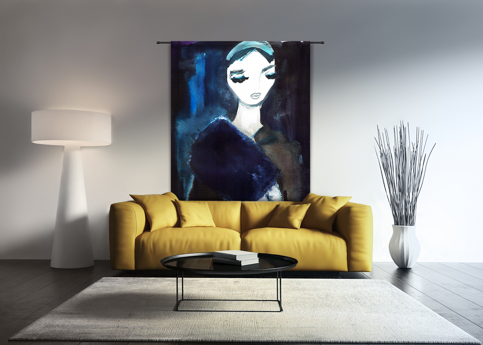 Lady in Blue, wandkleed