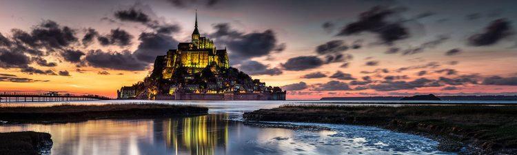 """Aluminium schilderij """"Le Mont Saint Michel sunset"""" van Quentin"""