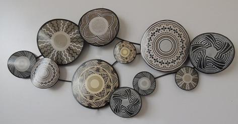 """Metalen wanddecoratie """"Ethnic circles"""""""