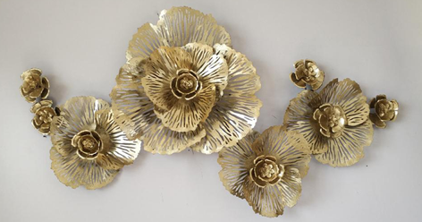 "Metalen wanddecoratie ""Golden bloom"""