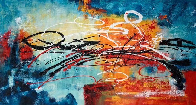 """Schilderij """"Kleurrijk lijnenspel (panorama)"""""""