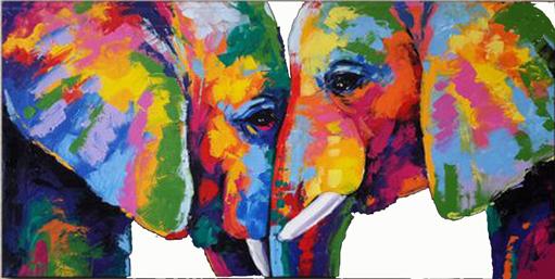 twee olifanten oog in oog