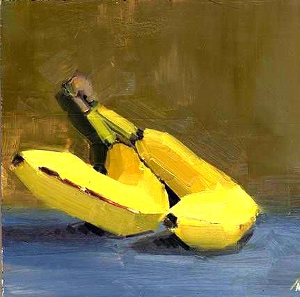 """Schilderij """"twee bananen"""""""