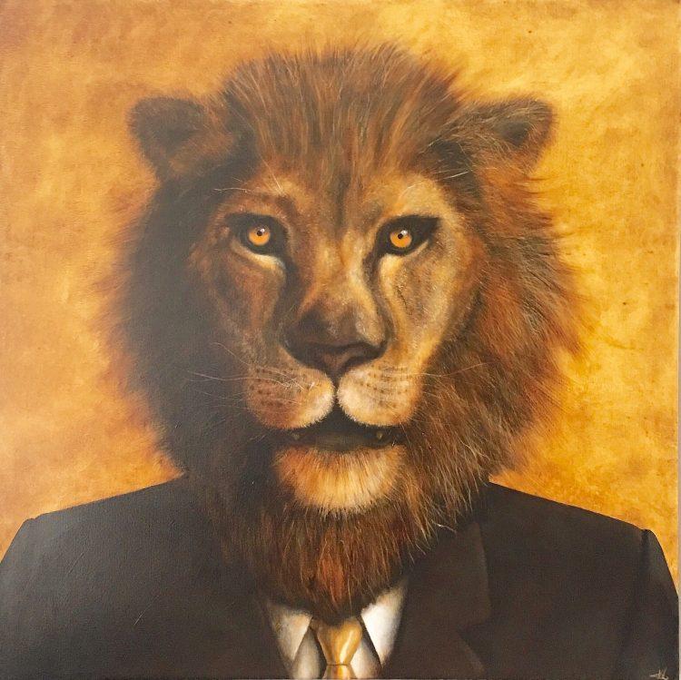 "Schilderij ""Lion at the office"""