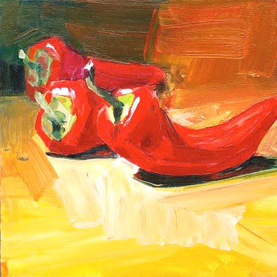 """Schilderij """"Rode pepertjes"""""""