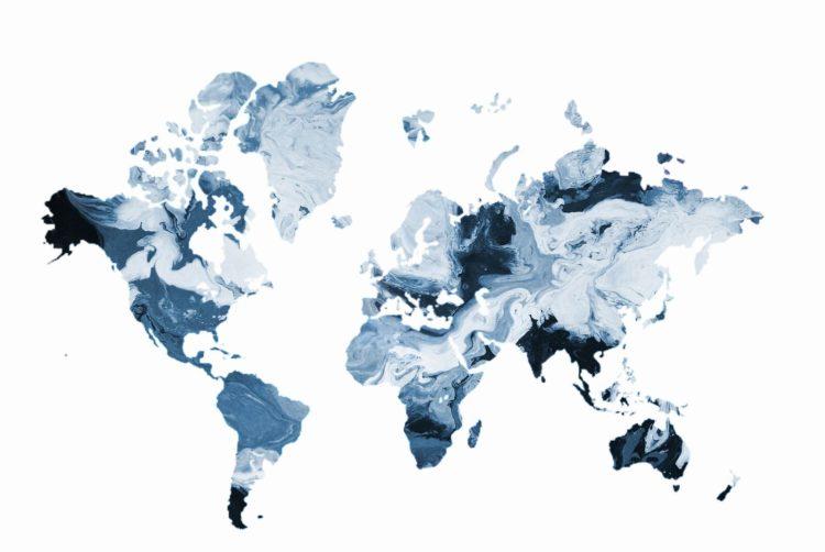 """Schilderij """"Wereldkaart marmer blauw"""""""