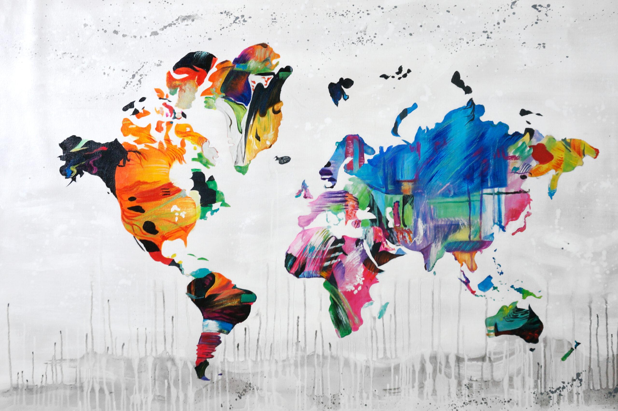 waterly schilderij wereldkaart