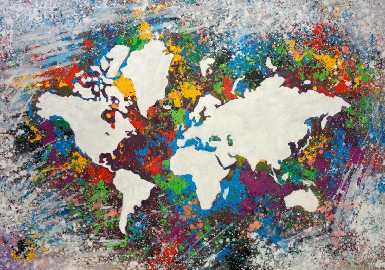 """Schilderij """"Wereldkaart spots"""""""