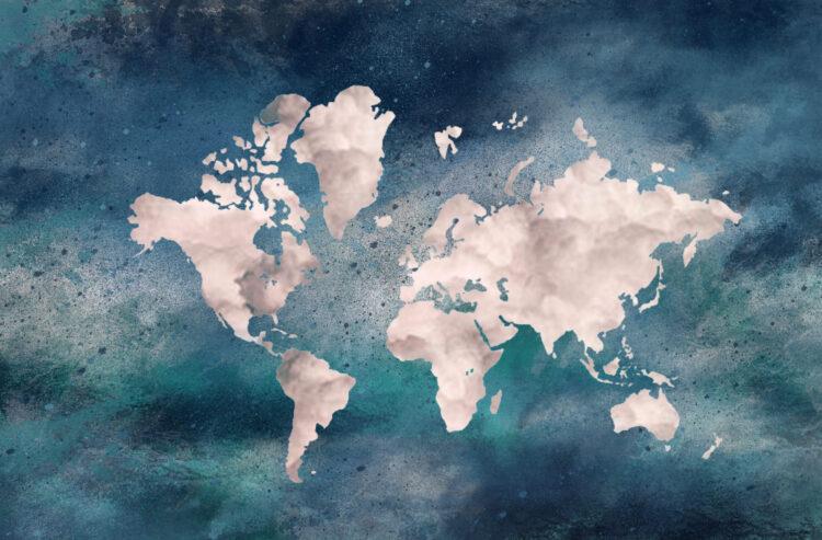 """Schilderij """"Wereldkaart sea"""""""