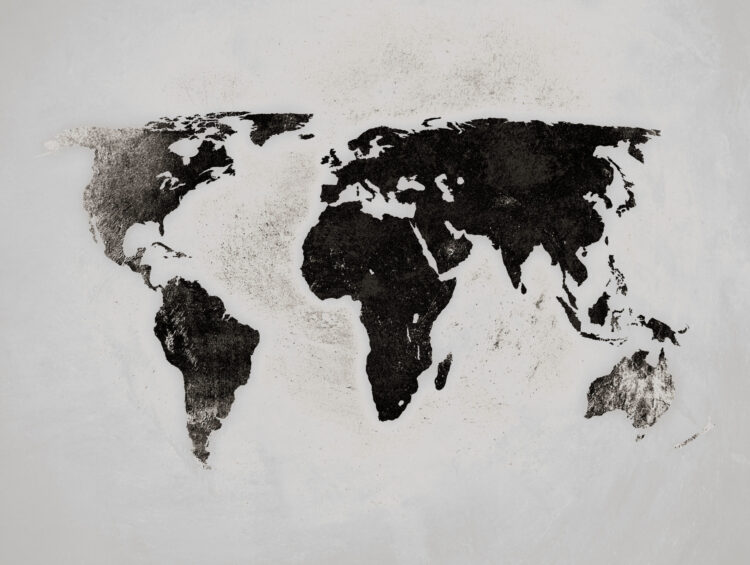 "Schilderij ""Wereldkaart black and white"""