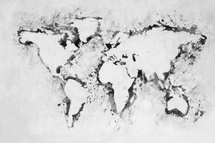 "Schilderij ""Wereldkaart white"""
