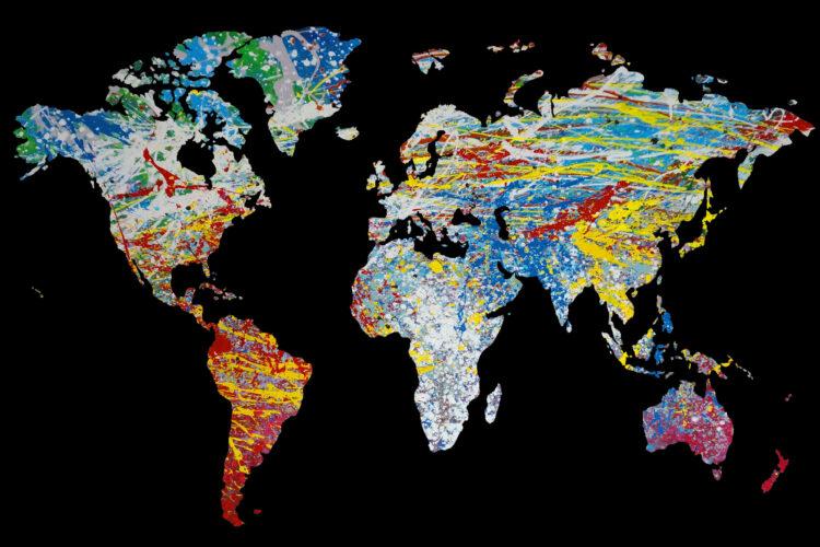 """Schilderij """"Wereldkaart Pollock"""""""