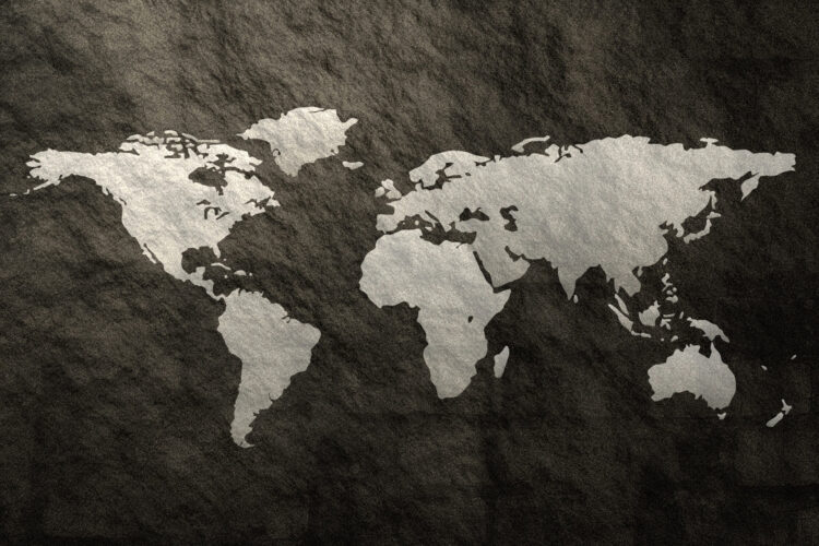 "Schilderij ""World map black"""
