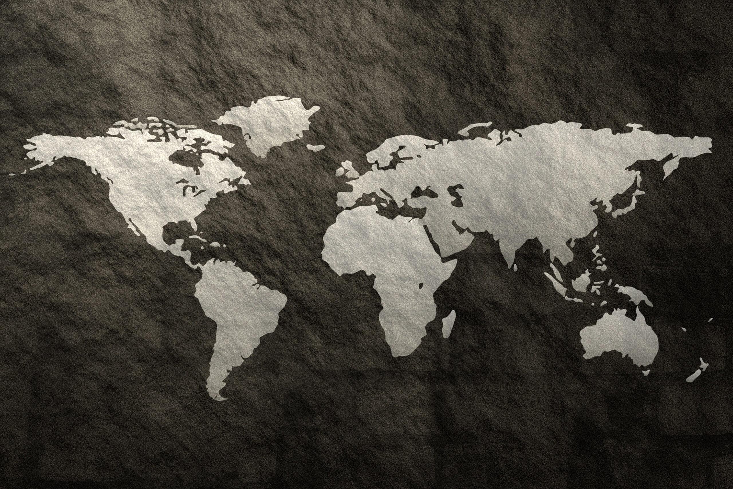 Wereldkaart zwart schilderij