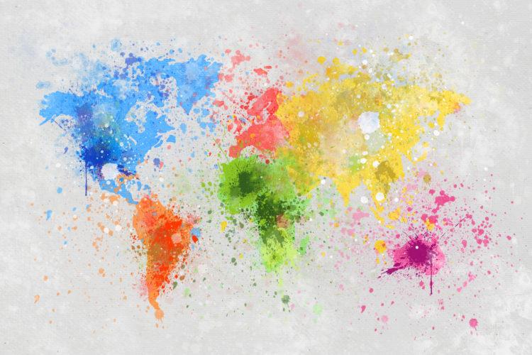 """Schilderij """"Kleurrijke wereldkaart"""""""