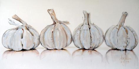 """Aluminium schilderij """"Vier bollen knoflook"""" van Mondiart"""