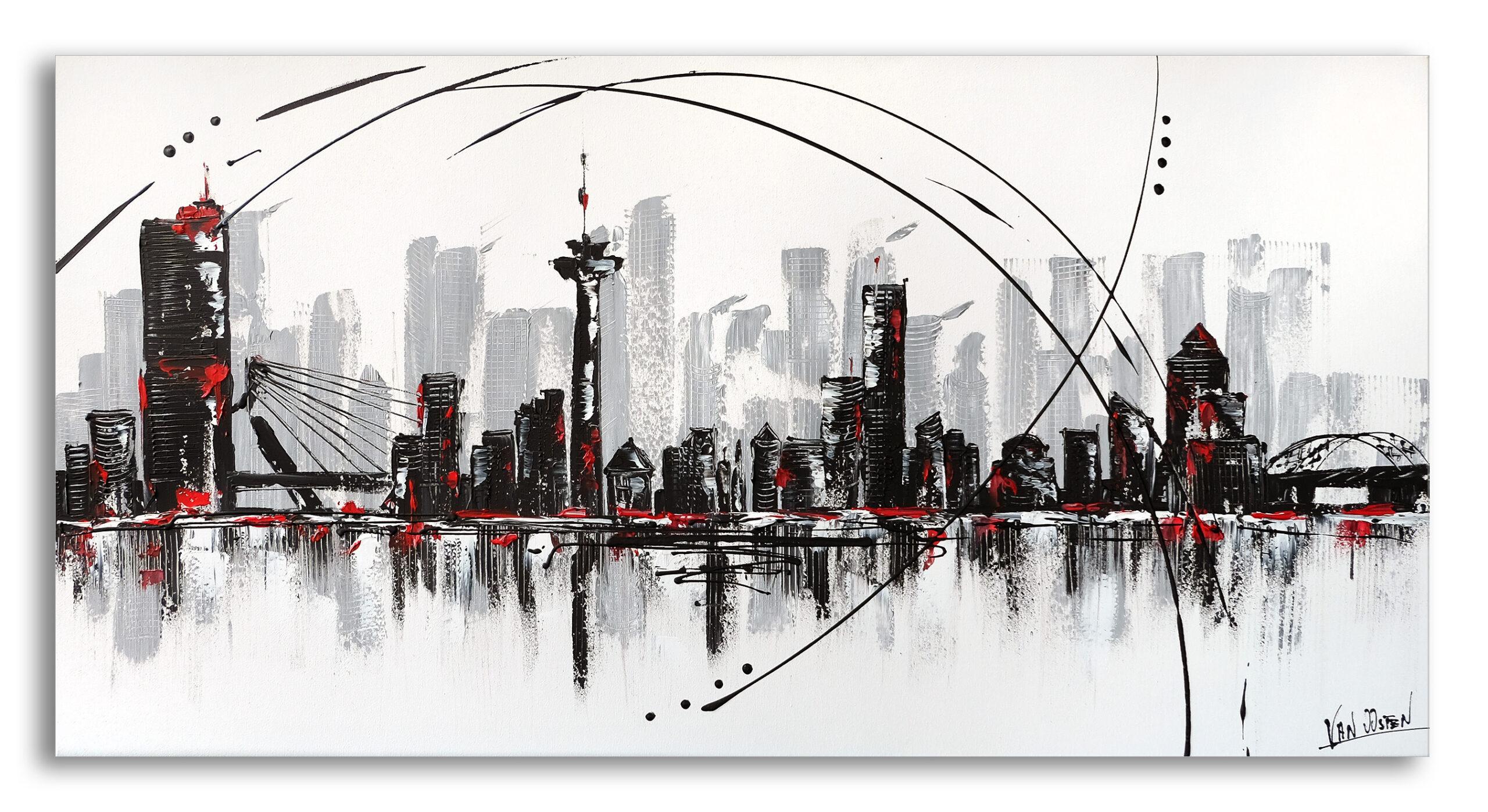 140x70 Rotterdam schilderij skyline- AF-02