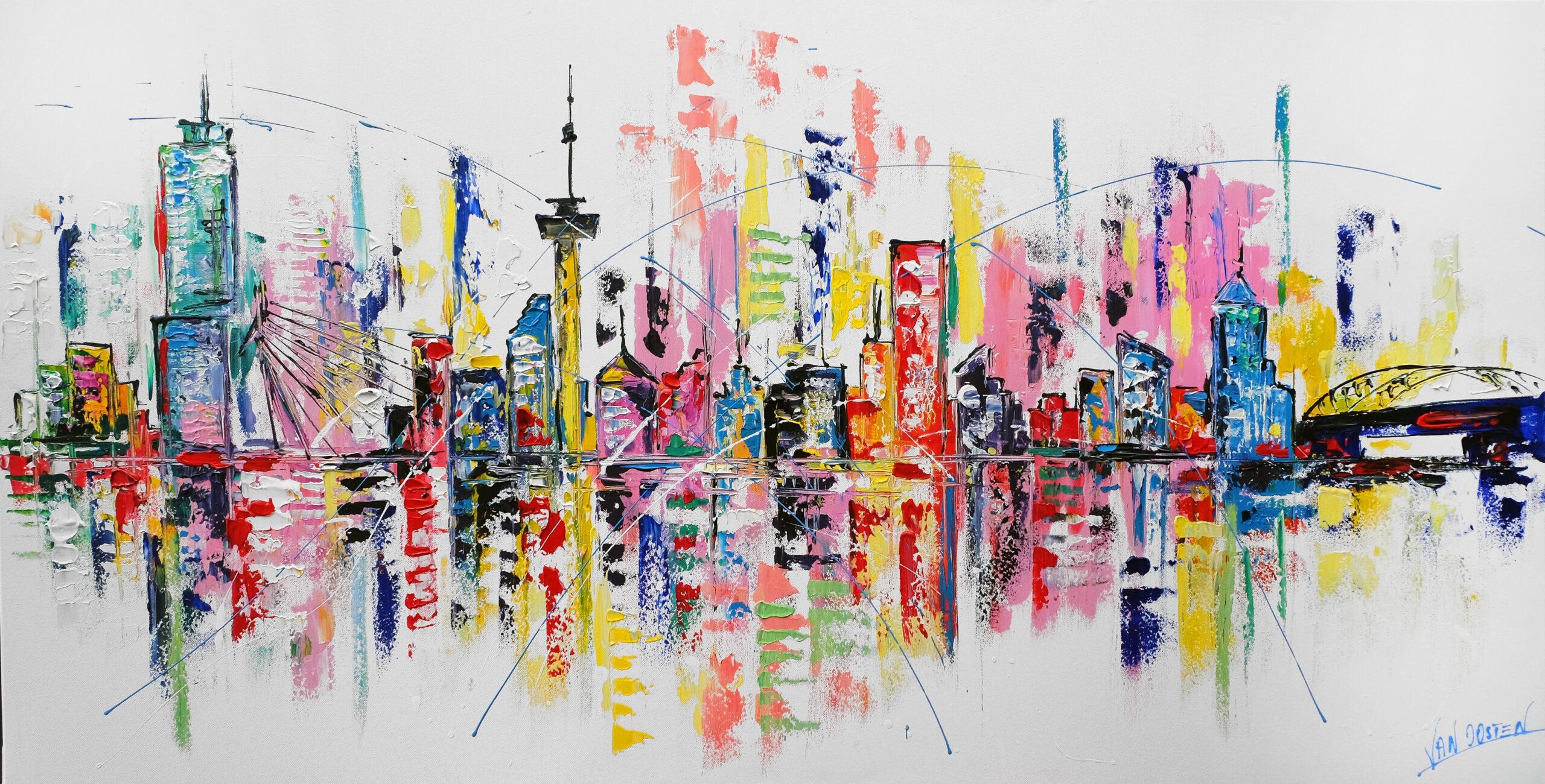 140x70 Rotterdam schilderij skyline- AF-03