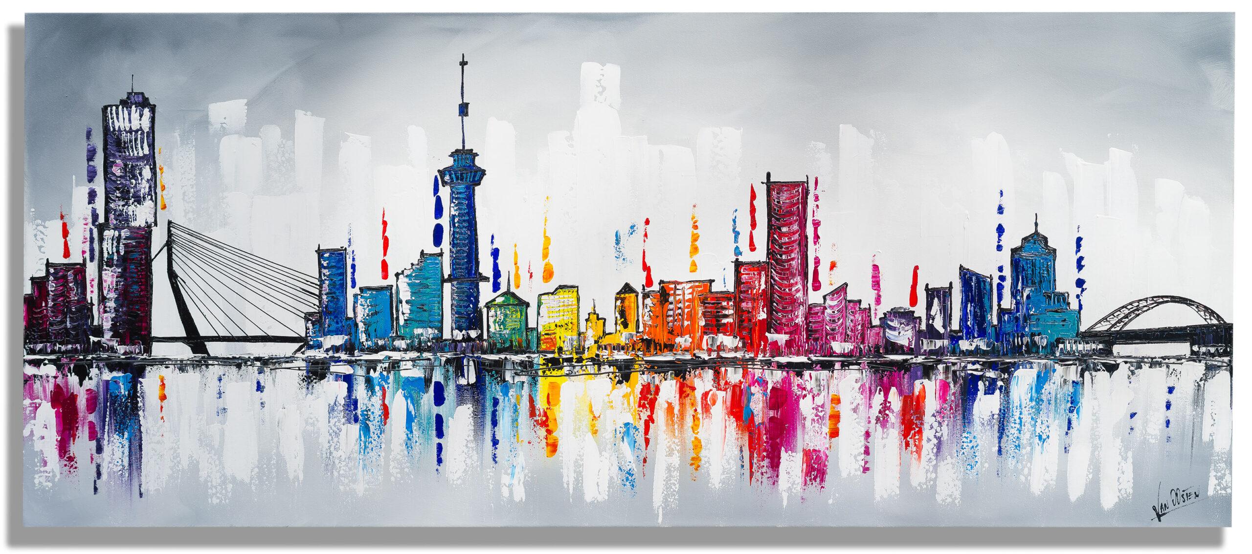 140x70 Rotterdam schilderij skyline- AF-01