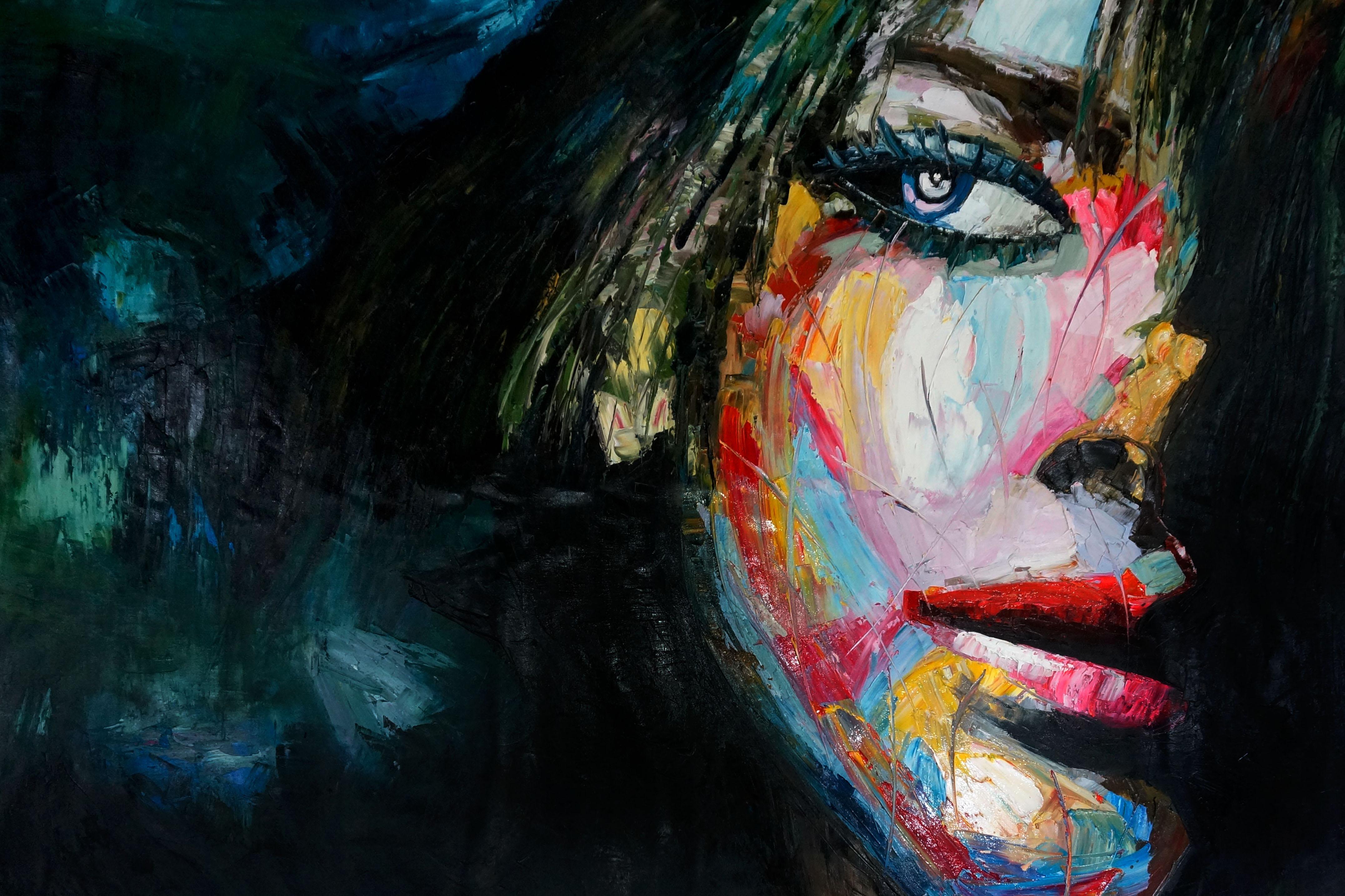 36281 gekleurde vrouw schilderij EA-GKV