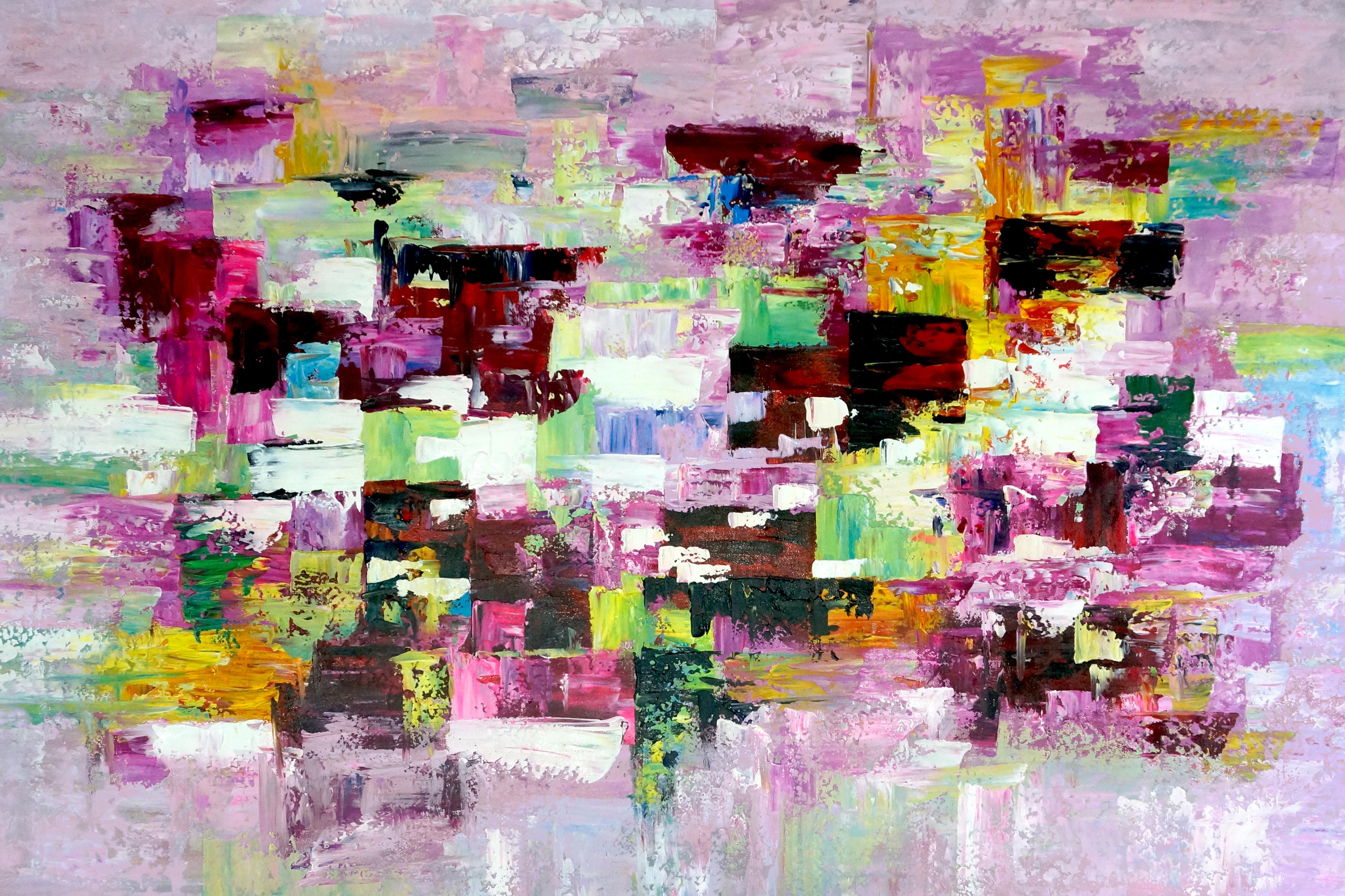 36378Cityscape kunstwerk abstract schilderij EA-FG45