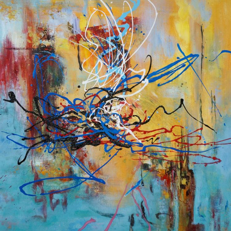"""Schilderij """"Blauw lijnenspel"""""""