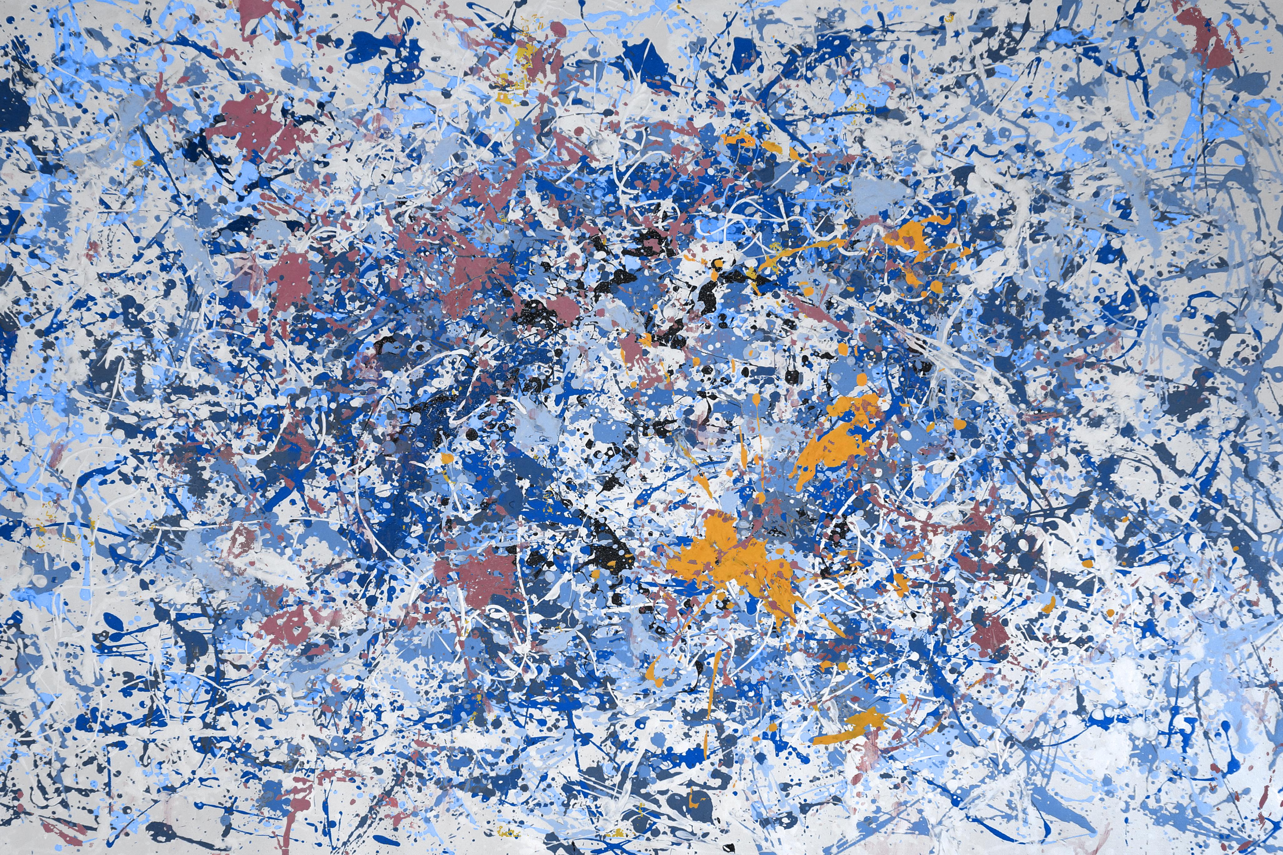 Blueness schilderij abstract kunstwerk EA-BN01