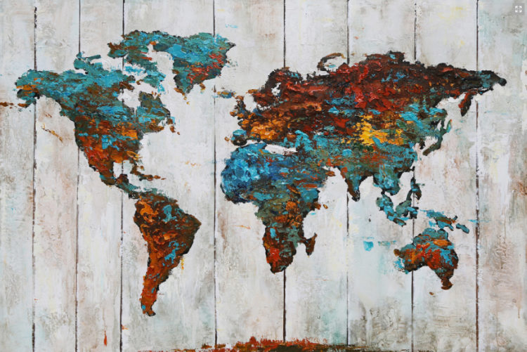 "Schilderij ""Blue and red world map"""