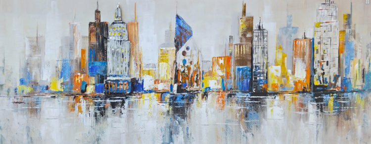 "Schilderij ""Colorful metal skyline"""